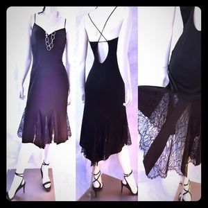David Meister little black dress with lace Size 6